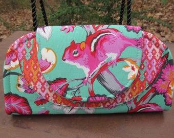 """READY to Ship--""""Cleo"""" Wallet/Mini Clutch made from Tula Pink """"Chipper"""" line of Fabric-Featuring Pink Chipmunk/Squirrel"""