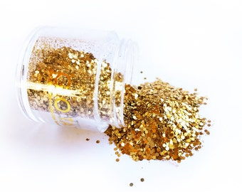 Glow in the Dark Glitter - Gold Glitz loose shimmer chunky perfect for festivals
