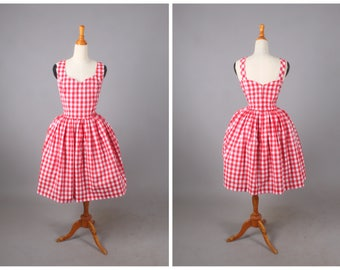 """Elizabeth Dress """"Sunday Picnic"""" in Red Checkered Gingham Print"""