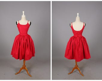 Penelope Dress in Solid Cardinal Red