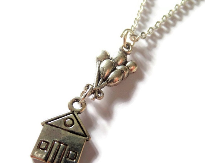 """Film inspired UP silver tone charm 24"""" necklace balloons house fan gift jewellery Uk"""