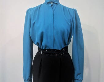 Vintage 1980's Deep Teal Blue Sadget Shop More Demi Collar 100% Texturized Polyester Blouse