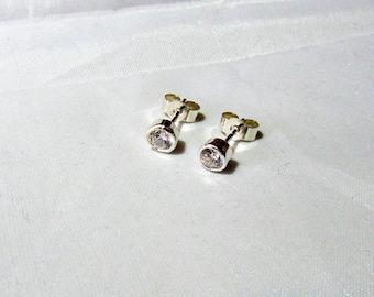 Sterling Silver Bezel Set Stud Earrings