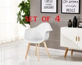 PN Homewares SET OF 4 Rico DA Tub Chair Dining Chair Office Chair Living Room Chair Retro Scandinavian Chair Modern Contemporary Chair