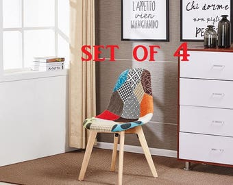 Patchwork Chair Set Of 4 Modern Living Room Dining Room Chair Mid Century Design Eames Style scandinavian