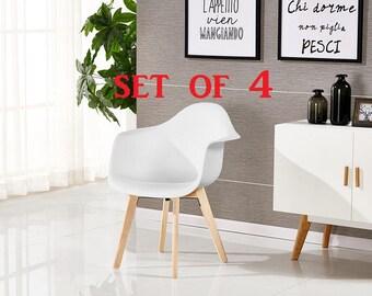P&N Homewares® SET OF 4 Rico DA Tub Chair Dining Chair Office Chair Living Room Chair Retro Scandinavian Chair Modern Contemporary Chair