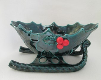 Vintage Lefton Large Sleigh Bowl Candy Dish Porcelain Ceramic Green Holly Leaves Red Holly Berries 1346 Japan
