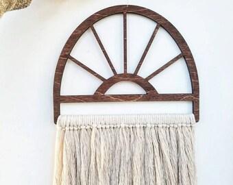 """Macrame Wall Hanging, Woven Wall hanging, Weaving, Fiber Art, Wood Art, """"Sunburst"""""""