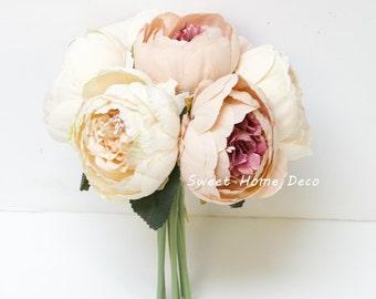 JennysFloweShop 11'' Silk Peony Artificial Flower Bouquet Wedding/Home Decorations (7 Stems/7 Flower Heads)Blush Pink