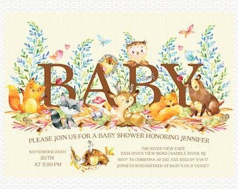 Woodland Baby Shower Invitation, Woodland, Forest, Animals, Baby Shower, Gender Neutral, Boy, Girl, Digital Printable Invitation
