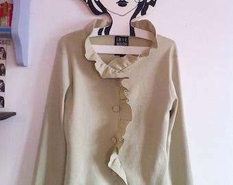 Pistachio Ice Cream Irie cardigan, lightweight knit with pretty ruffles / small - medium