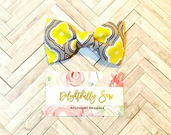 Grey and yellow bow ties, Father and son bow ties, Matching bow ties, Bow tie clip, Men, Boys, Dapper, wedding, hairbows, bows