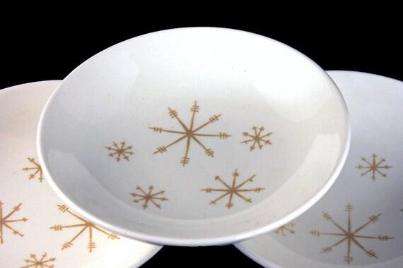 Dessert Bowls, Royal China (USA), Crystal Pattern, Gold Star Design, White and Gold, Fruit Bowls, Set of 3
