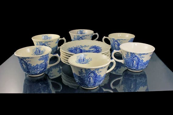 Cups and Saucers, Taylor Smith & Taylor, English Abbey, Fairway, Embossed, Hard to Find, Fine China, Set of 6