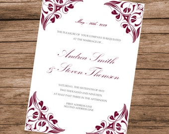 Burgundy Invitation Template, Printable Wedding Invite, Burgundy Vintage Design, INSTANT DOWNLOAD, Editable Text & Colors, 5x7 inches