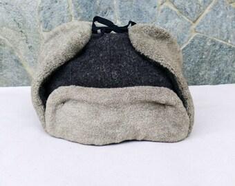 Vintage Wool Hat, Winter Hat, Trapper Hat, Ushanka, Winter Trooper Hat, Bulgarian Military hat, Climbing hat, Hunting hat, Warm hat