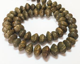 "Saucer Betel Nut Beads Salwag 10mm Saucer Khaki 16"" strand"