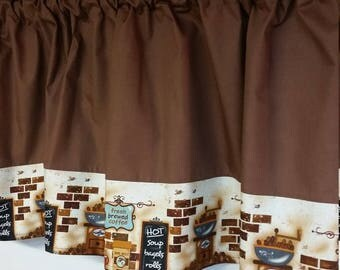 Brown Coffee Stripe Border Curtain Valance
