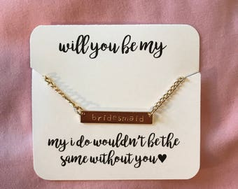 Bridesmaid Gift / Bar Necklace / Bachelorette Party