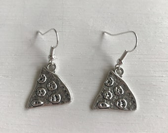 Silver tone pizza earrings