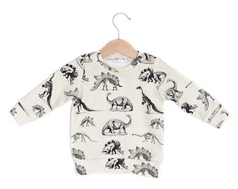 Dinosaur on Cream Organic Cotton Baby Long Sleeve Tee