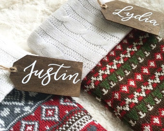 Personalized Christmas Stocking Wooden Name Tags