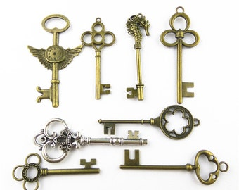 8pcs Mixed Huge Key Charms Jewelry Pendants Accessories A