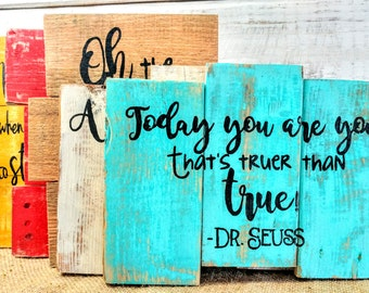 Dr. Seuss pallet wall decor, rustic Dr. Seuss sign, Dr. Seuss art, kids room decor, Dr. Seuss art, Dr. Seuss quote, Kids room art