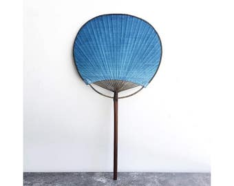 Indigo blue Paper folding Fan - Two kinds - Hand dyed / Natural plant dyes - Shibori dyed / Tie dyed