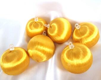 6 Vintage Gold Satin Christmas Ornaments