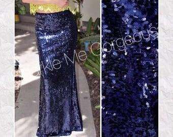 Navy Blue Sequin Maxi Skirt