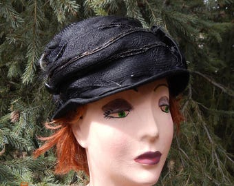 Armstice Era Black Cloche Hat with Net Trim