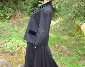 Downton Abbey Style Riding Suit -Black Wool, Size 16