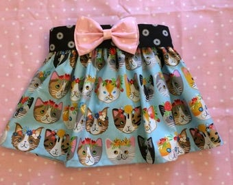 Baby Girl Toddler Floral Kitty Cat Skirt Outfit with matching bow clip