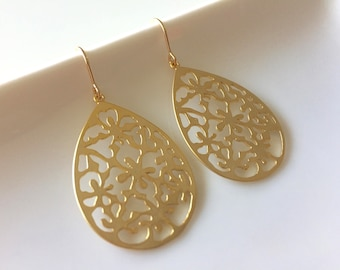 Large Gold Plated Earrings with 14K Gold Filled earwires, Short hook, Funky earrings, Flower pattern,  Gold earrings, thehappylittlebeader