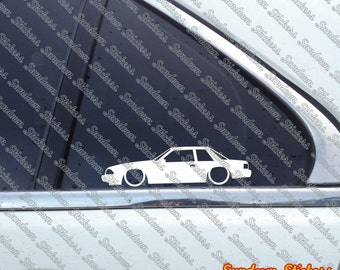 2X Low car outline stickers - for Ford Mustang LX Fox Body (1987-1993) notchback coupe