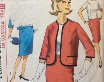 Simplicity 5126 misses suit jacket, skirt, blouse & scarf half size 20.5 size 20 1/2 bust 41 waist 35  vintage 1960's sewing pattern