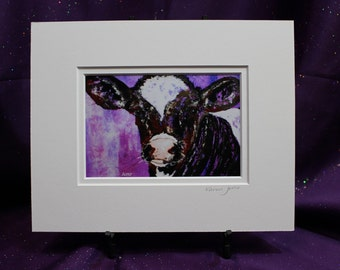 Abstract Cow Matted 8 x 10 print, Cow wall Art, Pink Cow Painting, Purple cow Art, Brown and white cow wall art