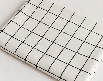 Plaid fabric, Plaid cotton linen fabric, Big grid fabrc, Check fabric, Offwhite Cream white table cloth by half yard  - 1/2 yard