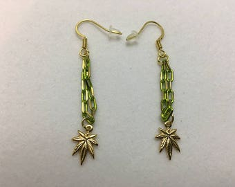 Gold Pot Leaf Earrings Green Chain (1 1/2 inches)