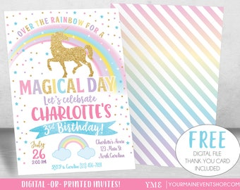 Magical Unicorn Invitation, Unicorn Birthday Invitation, Rainbow Invitation, Rainbow Birthday Invite Printable, Unicorn Party