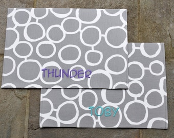 Personalized Dog Placemat || Custom Pet Food+Water Bowl Mat || Grey Bubbles || Puppy Gift || Feeding Station by Three Spoiled Dogs