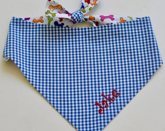 Royal Blue Personalized Gingham Bandana || Reversible Dog Bones Southern Classic Tie Pet Scarf || Puppy Gift by Three Spoiled Dogs