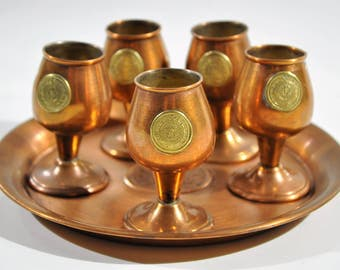 Aztec Design Copper and Brass Cordial Set with Serving Tray/ Copper Shot Glasses  /copper goblets/brass goblets/