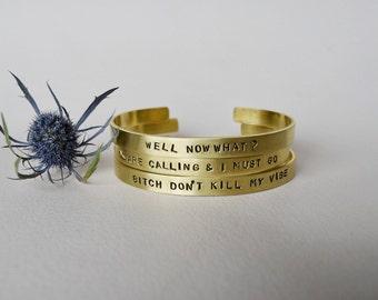 Custom Brass Bangle, Custom Cuff, Custom Bracelet, Inspirational Bracelet,  Mantra Bracelet, Gold Custom Bracelet, Stamped Bracelet