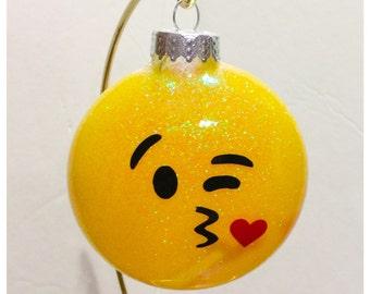 Glitter Kissy emoji ornament
