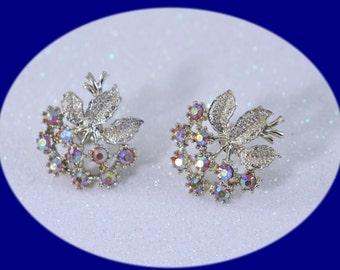 Vintage Earrings  Rhinestone Earrings Screw Back Earrings  Jewelry Vintage Earrings Briades Earrings Wedding Earrings