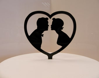 Wedding cake topper silhouette bride and groom, couple, engagement topper
