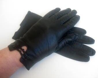 Vintage - black leather gloves - Audrey Hepurn