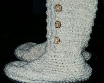 Crocheted Boots with Soles/ flip flop boots / flip flop slippers / slipper boots